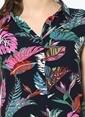 Dewberry Yaprak Desenli Kısa Elbise Lacivert